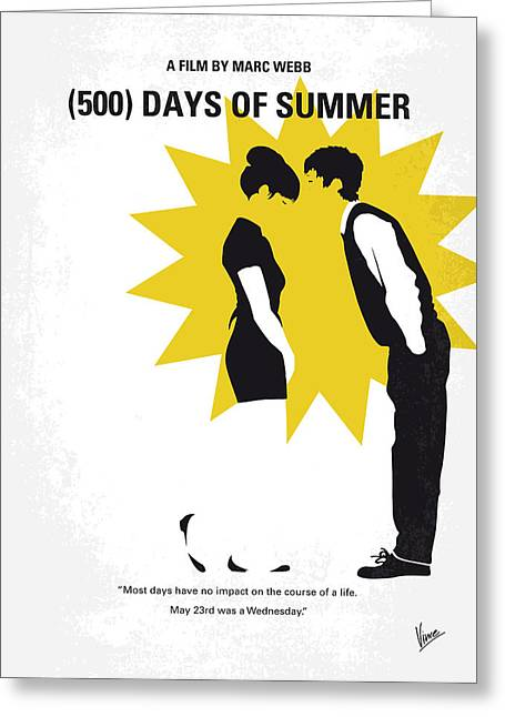 No500 My 500 Days Of Summer Minimal Movie Poster Greeting Card by Chungkong Art
