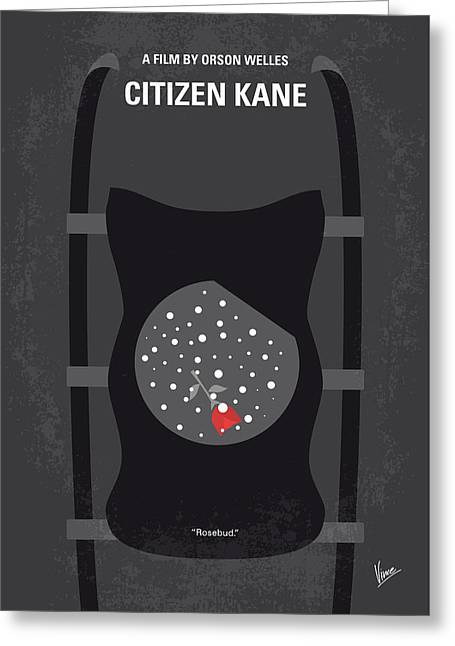 No605 My Citizen Kane Minimal Movie Poster Greeting Card by Chungkong Art