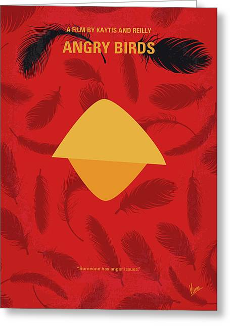 No658 My Angry Birds Movie Minimal Movie Poster Greeting Card by Chungkong Art