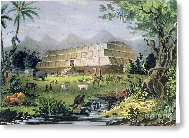 Testament Greeting Cards - Noahs Ark Greeting Card by Currier and Ives