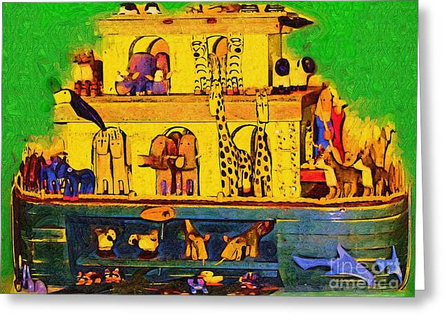 Noahs Ark From My Point Greeting Card by Deborah MacQuarrie