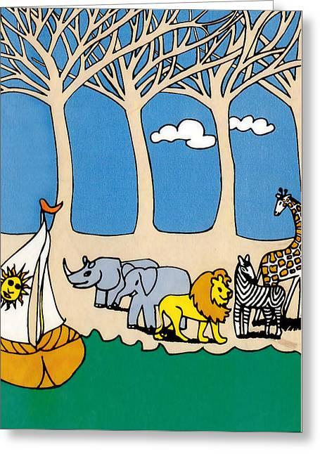 Zebra Canvas Art Prints Greeting Cards - Noahs Ark Greeting Card by Genevieve Esson