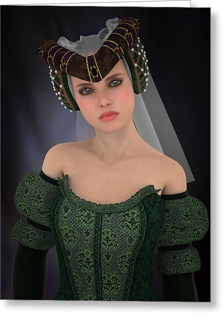 Dress Greeting Cards - Noble Maiden Greeting Card by Nelieta Mishchenko