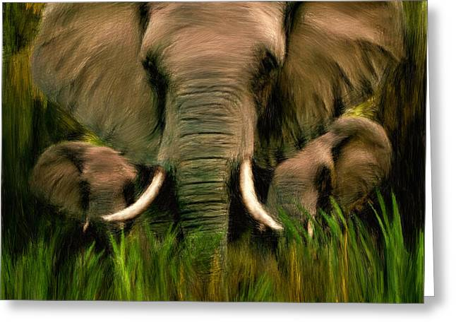 African Elephants Greeting Cards - Noble Ones Greeting Card by Lourry Legarde