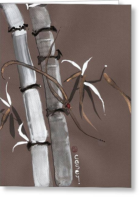 Sumi Greeting Cards - Noble Snow Spirit Like Bamboo Greeting Card by Casey Shannon