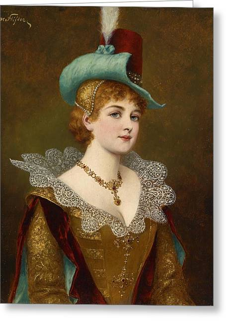 Gold Necklace Greeting Cards - Noble Woman Greeting Card by Moritz Stifter