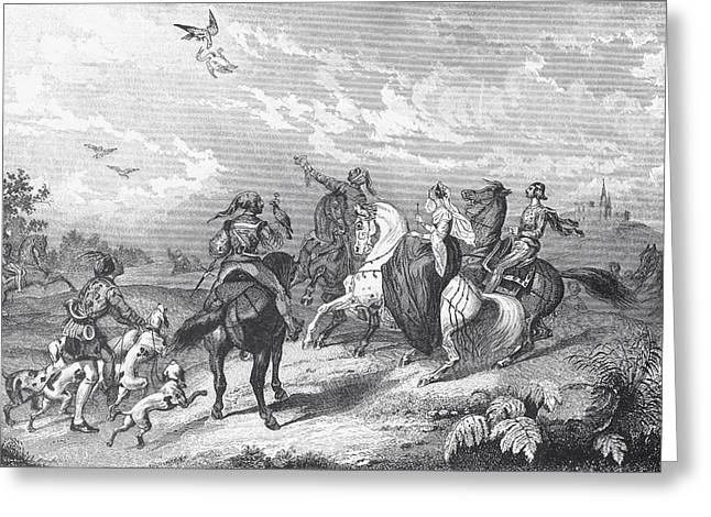 Falcon Hunting Greeting Cards - Noblemen And Women Hawking During A Greeting Card by Ken Welsh