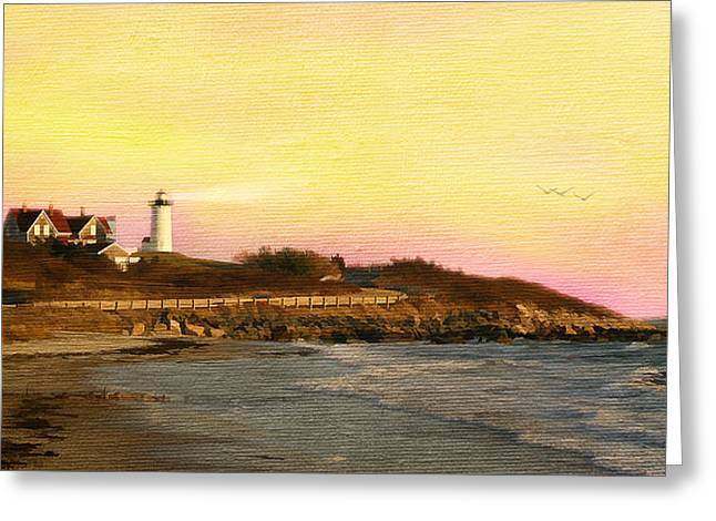 Dusk Mixed Media Greeting Cards - Nobska Light Greeting Card by Michael Petrizzo