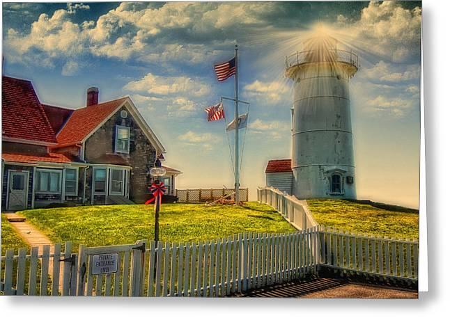 Seaside Digital Greeting Cards - Nobska Lighthouse III Greeting Card by Gina Cormier