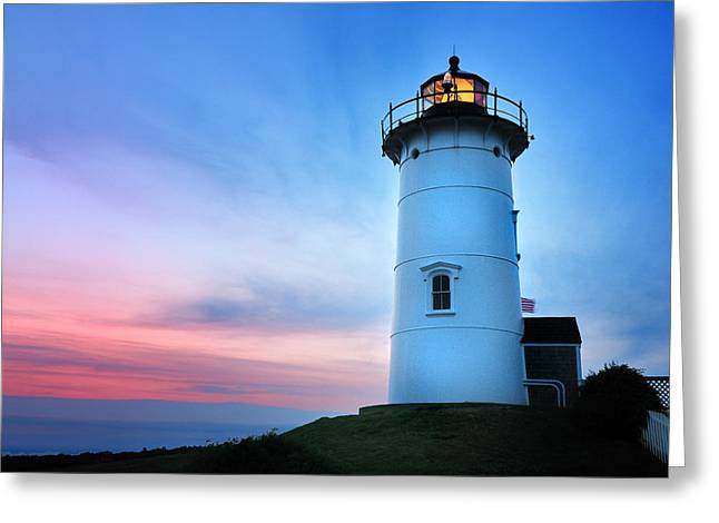 Nobska Point Lighthouse Greeting Card by Thomas Schoeller