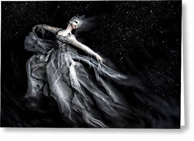 Long Dress Mixed Media Greeting Cards - Nocturnata Greeting Card by Spokenin RED