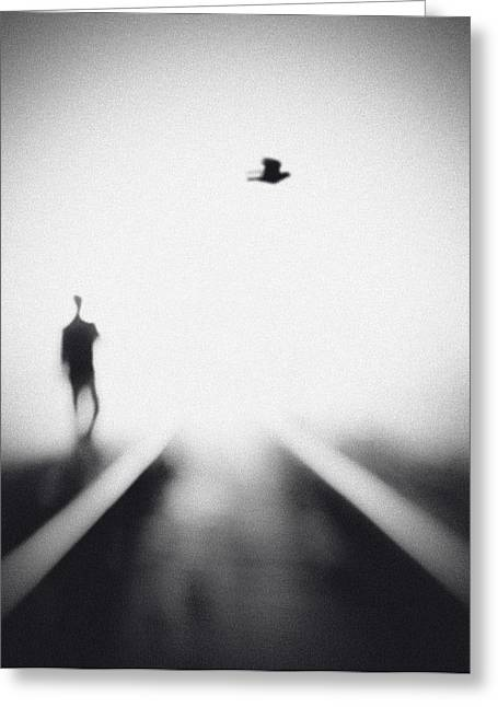 Rail Greeting Cards - Nocturne Greeting Card by Hengki Lee