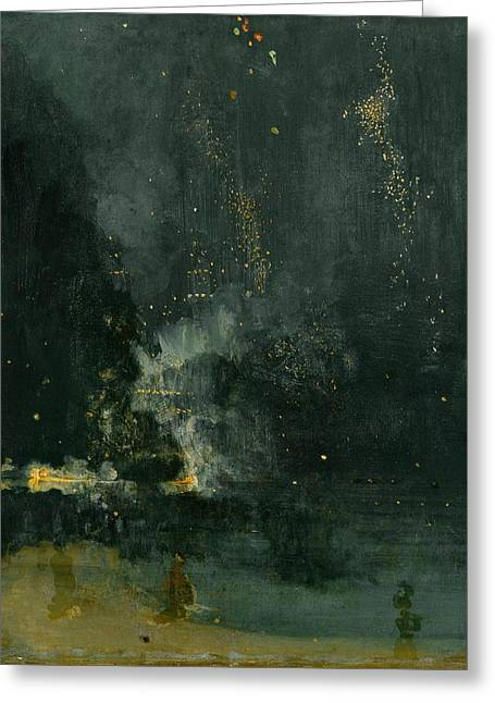 Nocturne In Black And Gold Greeting Cards - Nocturne in Black and Gold  Greeting Card by James A M Whistler