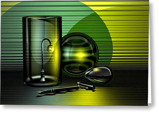 Pen Greeting Cards - Nocturne in Green and Gold Greeting Card by Andrei SKY