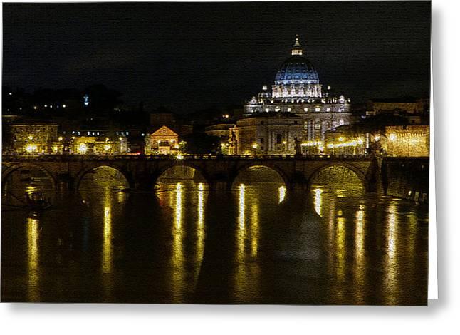 Night Angel Greeting Cards - Nocturno Romano Greeting Card by Giorgio Lumaconi