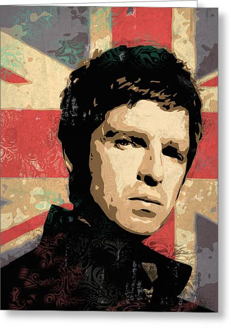 Noel Greeting Cards - Noel Gallagher Greeting Card by Tom Deacon