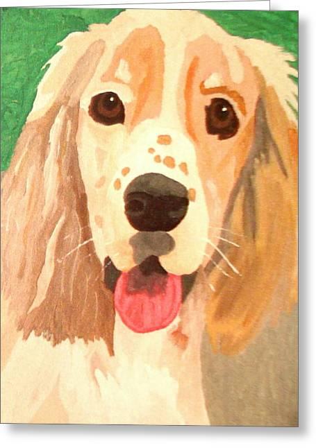 Puppies Paintings Greeting Cards - Nogi Greeting Card by Edie Lee