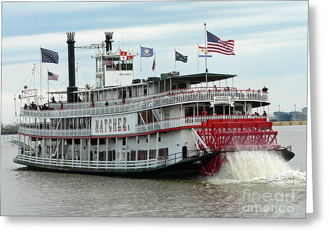 Paddle Wheel Greeting Cards - NOLA Natchez Riverboat Greeting Card by Joy Tudor