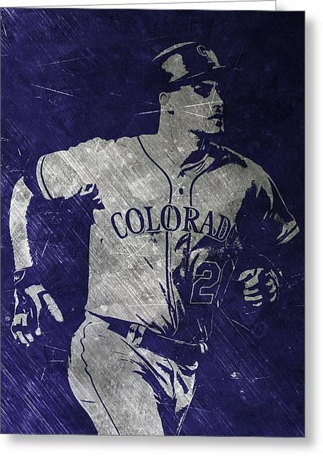Nolan Arenado Colorado Rockies Art Greeting Card by Joe Hamilton