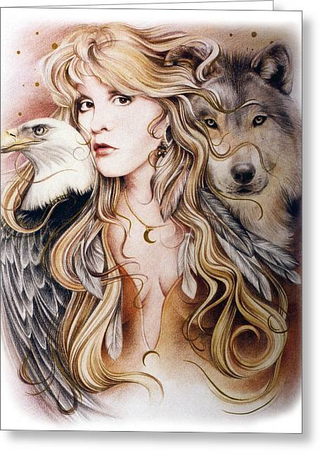 Wolf Portrait Greeting Cards - Nomad Greeting Card by Johanna Pieterman