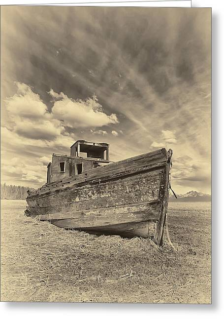 Old Boat Greeting Cards - Nomad Sepia Greeting Card by Ed Boudreau