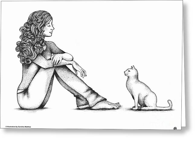 Ink Drawing Greeting Cards - Nonverbal Communication Greeting Card by Carolina Matthes