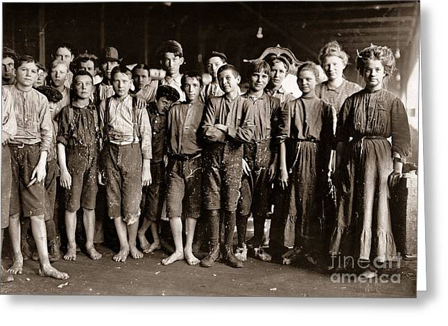 Enterprise Paintings Greeting Cards - Noon Hour Workers in Enterprise Cotton Mill Greeting Card by Celestial Images