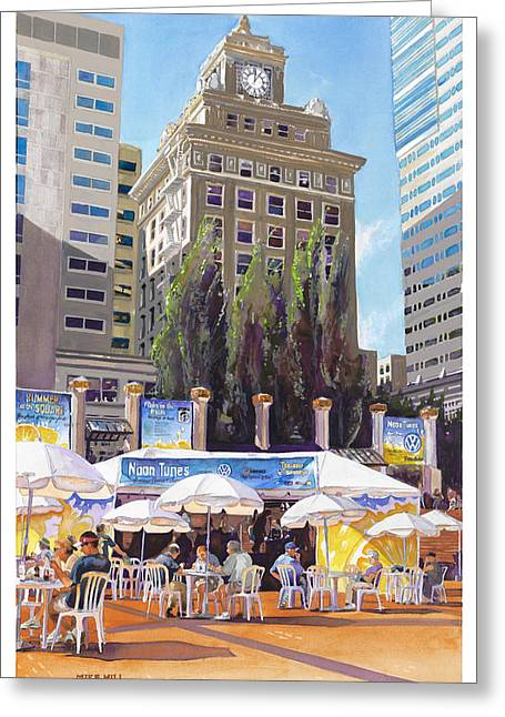 Mike Hill Greeting Cards - Noon Tunes Pioneer Square Greeting Card by Mike Hill