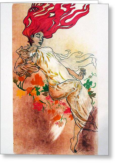 Female ist Mixed Media Greeting Cards - Noonday Greeting Card by Brittani Singleton