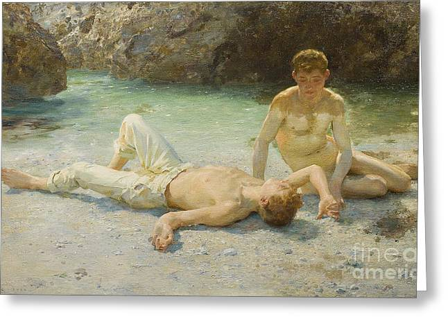 Pants Greeting Cards - Noonday Heat Greeting Card by Henry Scott Tuke