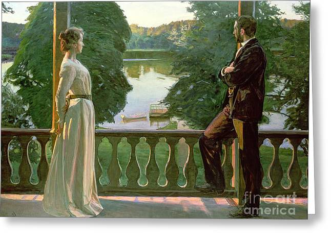 Couples Paintings Greeting Cards - Nordic Summer Evening Greeting Card by Sven Richard Bergh