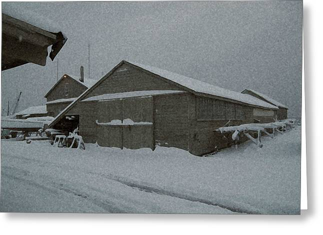 Barn Yard Mixed Media Greeting Cards - Noreaster Greeting Card by Paul Barlo