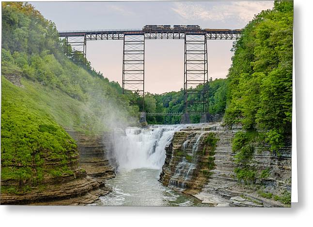 Norfolk Southern Over Letworth Upper Falls Greeting Card by Chris Bordeleau