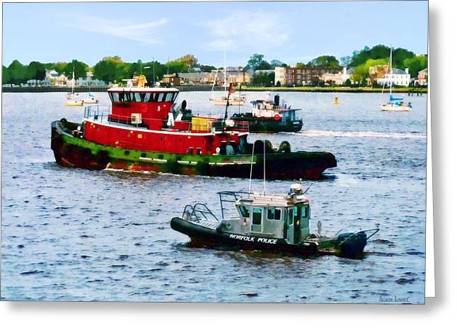 Tugboat Greeting Cards - Norfolk VA - Police Boat and Two Tugboats Greeting Card by Susan Savad