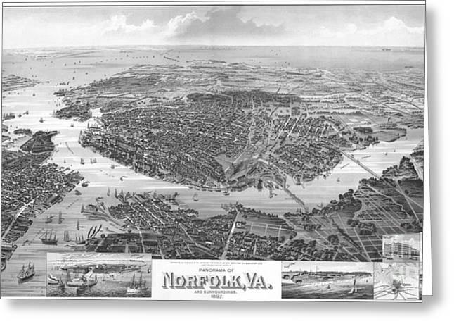 Norfolk Virginia 1892 Greeting Card by Tim Rudziensky
