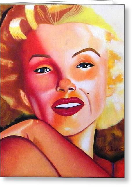 Norma Jean Paintings Greeting Cards - Norma Jean Greeting Card by Santiago Rodriguez