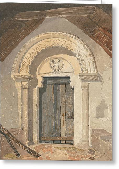 Norman Doorway, Tottenhill Church, Norfolk Greeting Card by John Sell Cotman