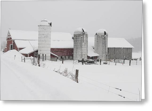 Blizzard Scenes Greeting Cards - Norms barn Athens Vermont Greeting Card by Mark  Linton