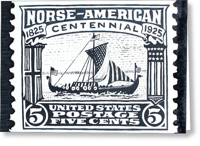 Transportation Reliefs Greeting Cards - Norse-American Centennial Stamp Greeting Card by James Neill