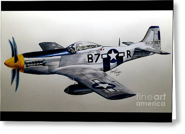 Ww Ii Drawings Greeting Cards - North American P-51 Mustang Greeting Card by Chris Volpe