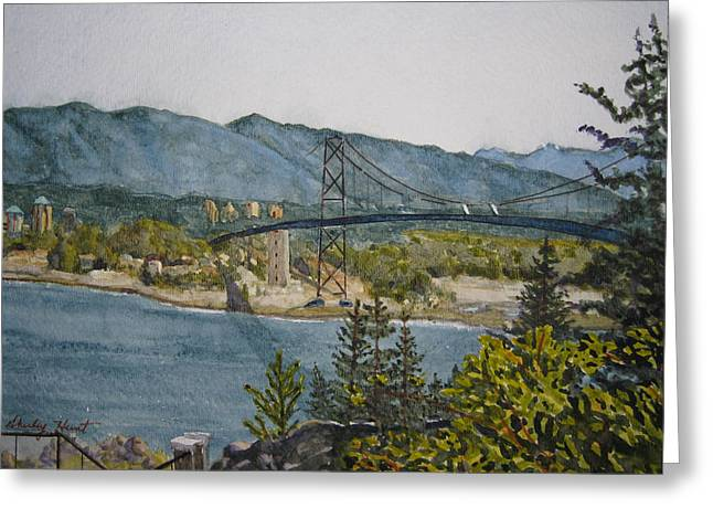 North Vancouver Paintings Greeting Cards - North and West Greeting Card by Shirley Braithwaite Hunt