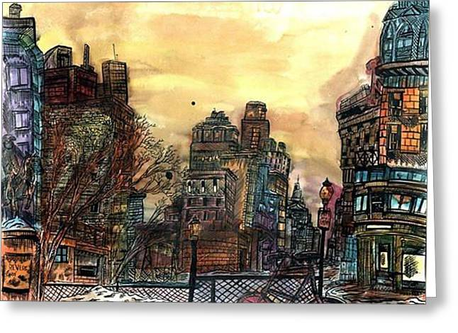 Grungy Drawings Greeting Cards - North Boston Greeting Card by Eli Portman