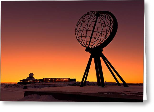 Norwegian Sunset Greeting Cards - North Cape Norway at the northernmost point of Europe Greeting Card by Ulrich Schade