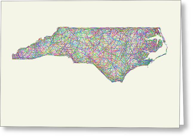 Multicolor Greeting Cards - North Carolina line art map Greeting Card by David Zydd
