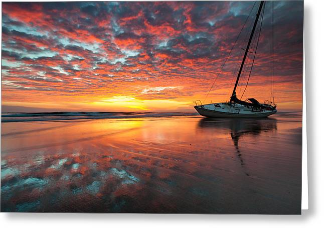 Barrier Island Greeting Cards - North Carolina Outer Banks Cape Hatteras National Seashore Shipwreck Sunrise Greeting Card by Mark VanDyke