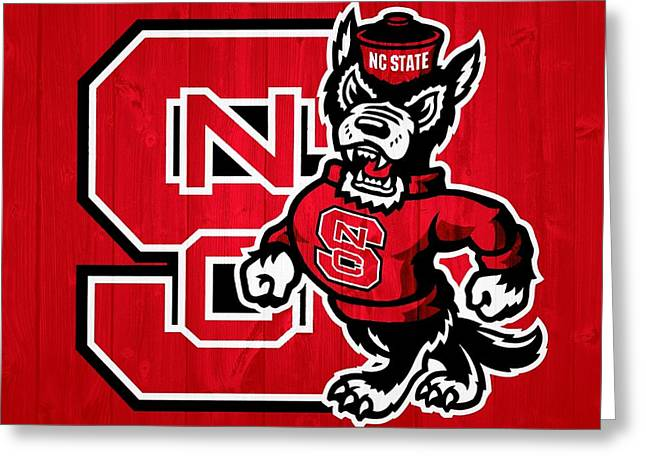 Nc State Greeting Cards - North Carolina State Wolfpack Barn Door Greeting Card by Dan Sproul