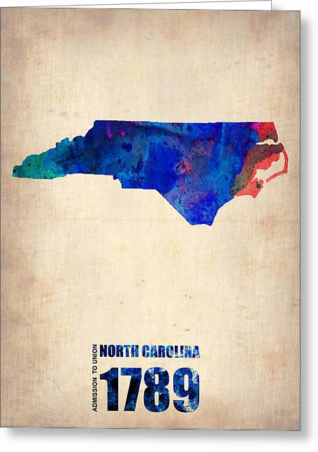 North Carolina Greeting Cards - North Carolina Watercolor Map Greeting Card by Naxart Studio