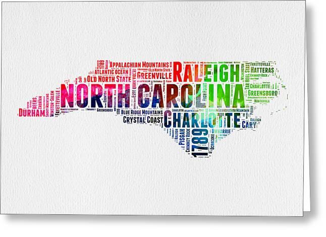 Charlotte Greeting Cards - North Carolina Watercolor Word Cloud Map Greeting Card by Naxart Studio