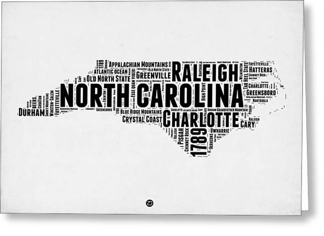 Charlotte Greeting Cards - North Carolina Word Cloud Map 2 Greeting Card by Naxart Studio