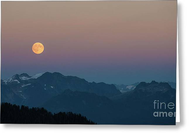 North Cascades Full Moonrise Greeting Card by Mike Reid